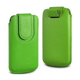 Leather Magnetic Pull Tab Protective Pouch For Lg Optimus Sol E730 - Green
