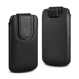 Leather Magnetic Pull Tab Protective Pouch For Apple Iphone 5s - Black
