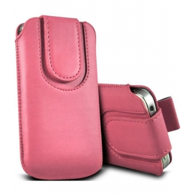 Leather Magnetic Pull Tab Protective Pouch For Sony Xperia E - Light Pink