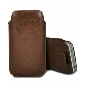 Leather Pull Tab Cover Pouch For Motorola Moto X - Brown