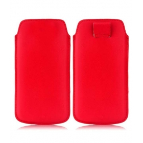 Leather Pull Tab Protective Pouch For Lenovo S650 - Red