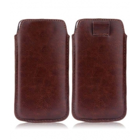 Leather Pull Tab Protective Pouch For Apple Iphone 5s - Brown