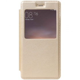 Xiaomi Redmi 3s Prime Flip Cover By Raykay - Golden