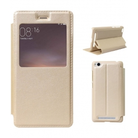 Xiaomi Redmi 4a Flip Cover By Fashion Mania - Golden