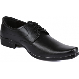 Black Synthetic Leather Formal Shoes Lace Up  (black)