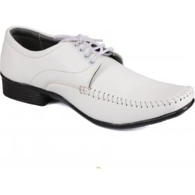 Mens White Synthetic Leather Formal Shoes Lace Up  (white)