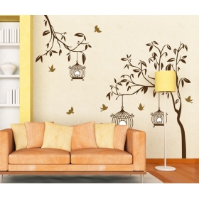 Ay9039 Birds Cage On The Tree Nature Wall Sticker  Jaamso Royals