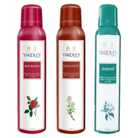 Yardley Morning Dew Refreshing Body Spray 150 Ml + Yardley Mist Body Spray 150 Ml + Red Roses Deodorant Women 150 Ml