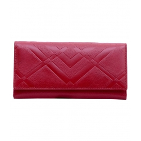 Red Leather Magnit Button Clutch
