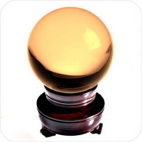 Yellow Crystal Ball 50mm (2 In.) Including Wooden Stand And Gift Package