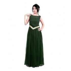 Dark Green-v Neck Gown