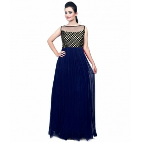 Navy Blue Checks Gown