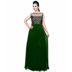 Dark Green Checks Gown