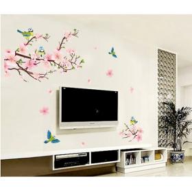 Ay7260 Birds On The Pink Trea Nature Wall Sticker  Jaamso Royals