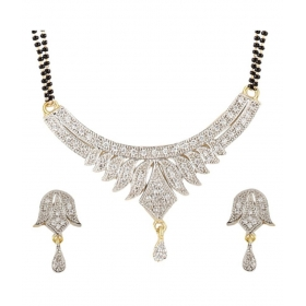 Alloy Gold Plating American Diamonds Studded Silver Coloured Mangalsutra Set