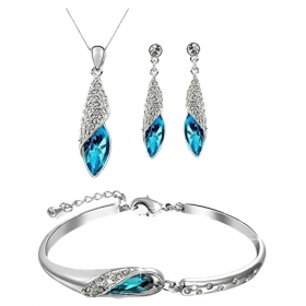 Crystal Combo Of Pendant Necklace With Earrings Set And Bracelet For Girls And Women
