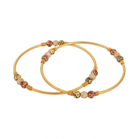 Multicolour Gold Plated Bangle Set For Women