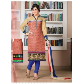 Zarine Khan Lawn Cotton Semi Stitched Salwar Suit