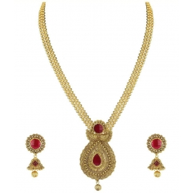 Gold Non-precious Metal Pendant Necklace With Jhumki Earring For Women - Zpfk4409