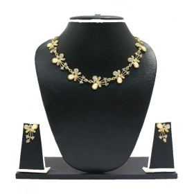 Zinc Gold Plating American Diamonds Studded Gold Coloured Necklaces Set