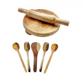 Desi Karigar Wooden Skimmers Set With Chakla Belan