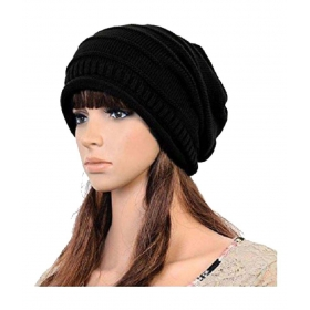 Black Woollen Beanies Cap
