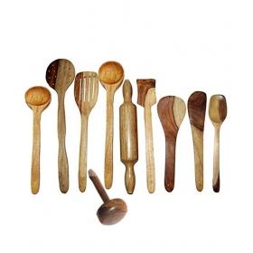 Desi Karigar Wooden Ladel Set (8 Ladles+ 1 Mesher+ 1 Rolling Pin)