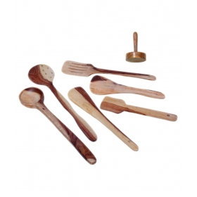Desi Karigar Wooden Skimmer Set Of 6 + 1 Masher