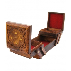 Wooden Folding Jewellery Box In Sheesham Wood