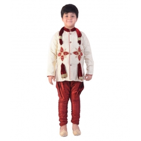 Boys Maroon Sherwani With Dupatta