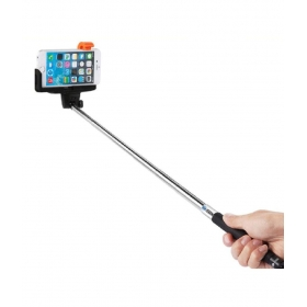 Selfie Stick With Built-in Bluetooth Remote - Black